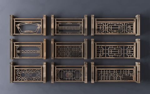 新中式金属雕花栏杆3D模型【ID:828327548】