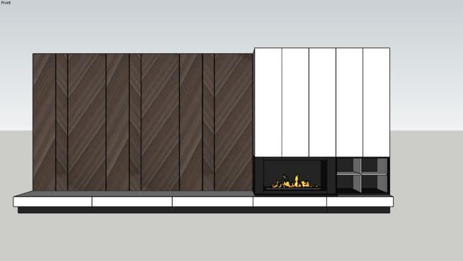 电视壁炉墙SU模型【ID:940311521】