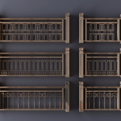 新中式金屬欄桿護欄3D模型【ID:828473558】