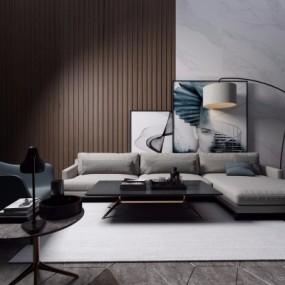 现代简约沙发组合3D模型【ID:128409057】