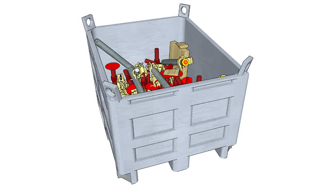 配件箱与金属容器支架管夹木和鬓角正交陷阱SU模型【ID:840312430】
