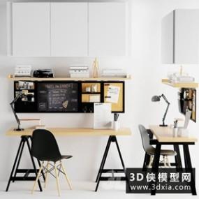 现代北欧书桌椅组合国外3D模型【ID:729320741】