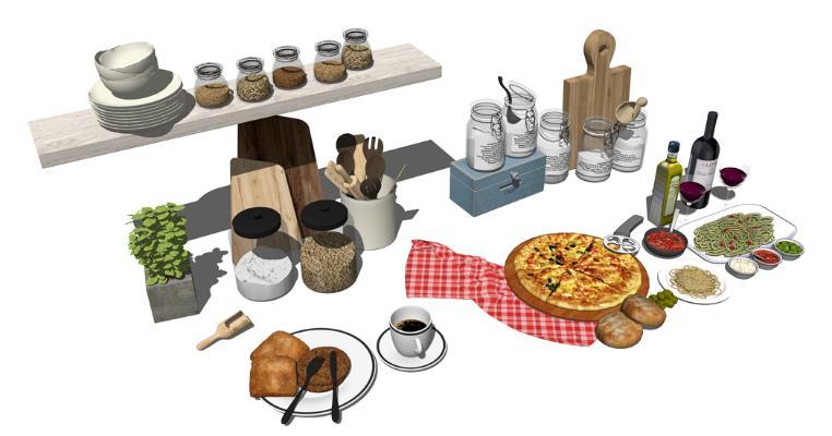 厨房用品组合SU模型【ID:846376860】