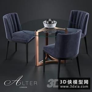 現代桌椅模型組合國外3D模型【ID:729323713】