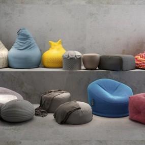 北欧懒人椅脚踏矮凳组合3D模型【ID:127844211】