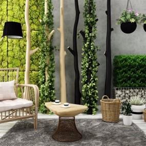 户外植物休闲椅石头组合3D模型【ID:327922890】