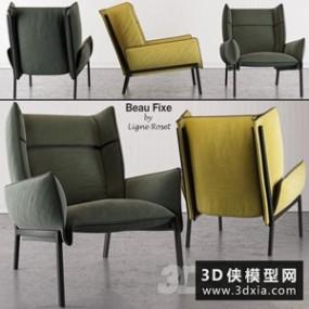 现代休闲椅国外3D模型【ID:729315831】