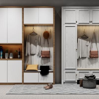 现代鞋柜玄关柜组合3D模型【ID:927837355】
