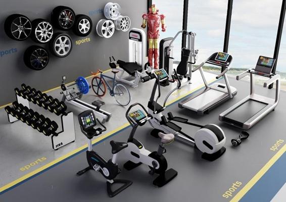 现代健身器材3D模型【ID:928172569】