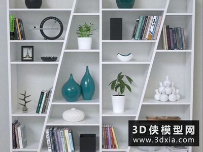 現代書柜組合國外3D模型【ID:829387091】