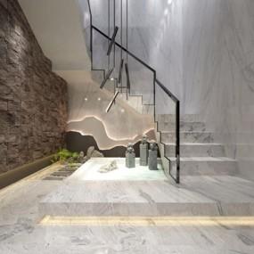 新中式楼梯间3D模型【ID:427974948】