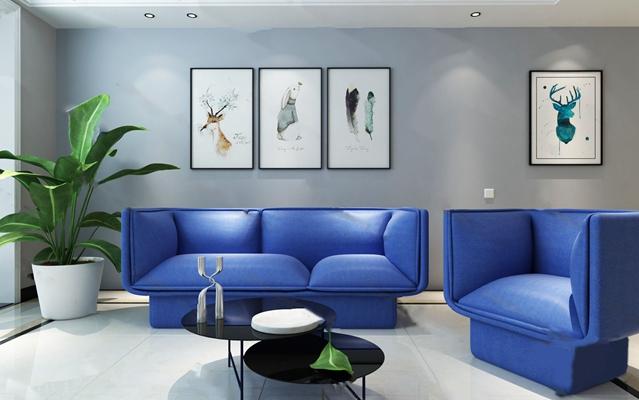 现代沙发茶几组合3D模型【ID:626221097】