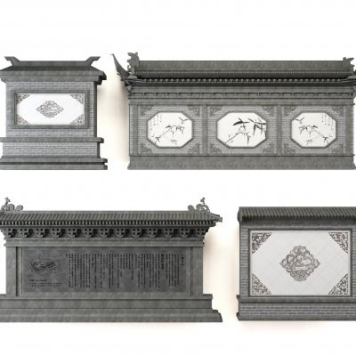 中式庭院影壁照壁組合3D模型【ID:727812882】