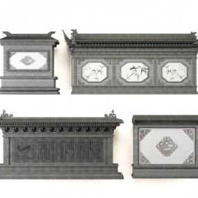 中式庭院影壁照壁组合3D模型【ID:727812882】
