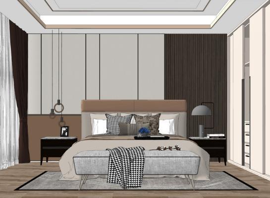 现代卧室SU模型【ID:948074882】