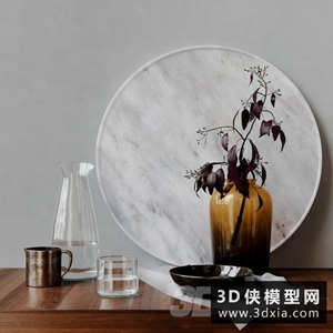 现代装饰品模型组合国外3D模型【ID:929312849】