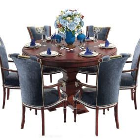 美式实木圆形餐桌椅3d模型 【ID:842270857】