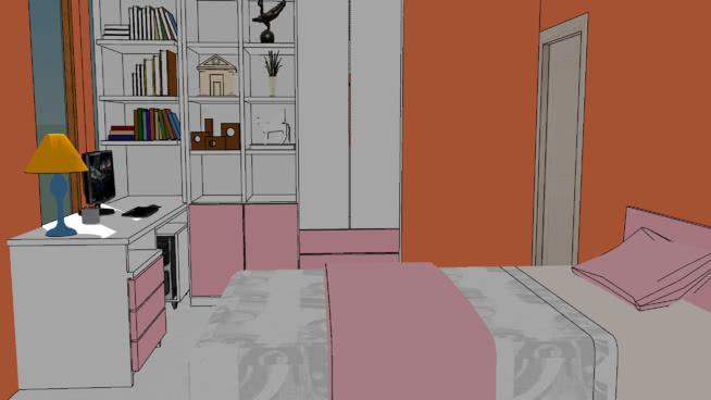 粉色女孩卧室SU模型【ID:538959046】