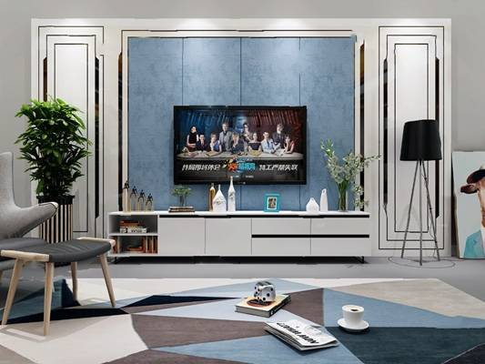 现代电视墙3D模型【ID:624889039】