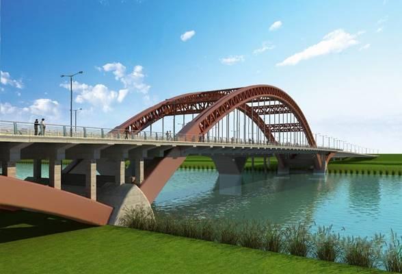 现代桥3D模型【ID:624894072】
