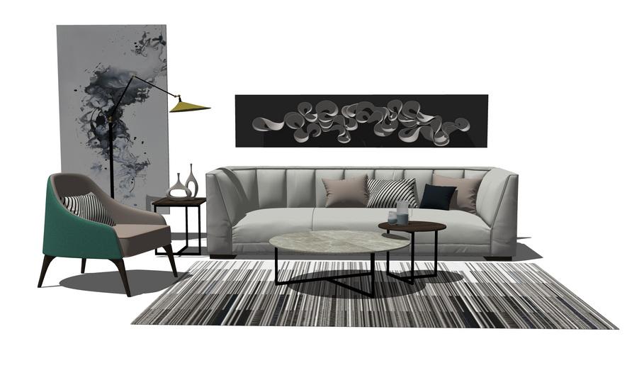 北欧风格客厅沙发茶几组合SU模型【ID:436950157】