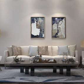 现代沙发茶几组合3D模型【ID:626227079】