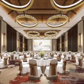 新中式酒店宴会厅3D模型【ID:427796539】