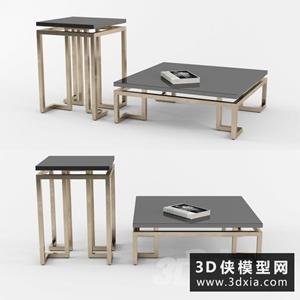 現代茶幾邊幾組合國外3D模型【ID:829330167】