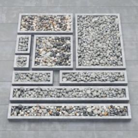 现代鹅卵石组合3D模型【ID:127754886】