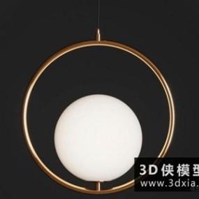 现代金属吊灯国外3D模型【ID:829406729】