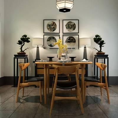 中式餐桌椅组合3D模型下载【ID:319453423】