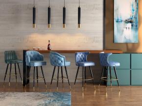 现代吧台吧椅吊灯组合3D模型【ID:627804388】