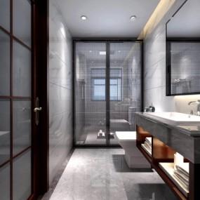 新中式卫生间3D模型【ID:528025428】
