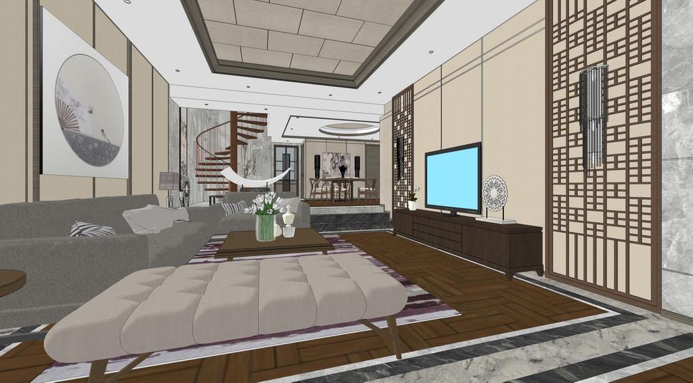 中式客厅餐厅卧室室内设计SU模型【ID:936955809】