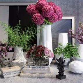 北欧花草植物摆件花瓶桌面饰品3D模型【ID:328245577】