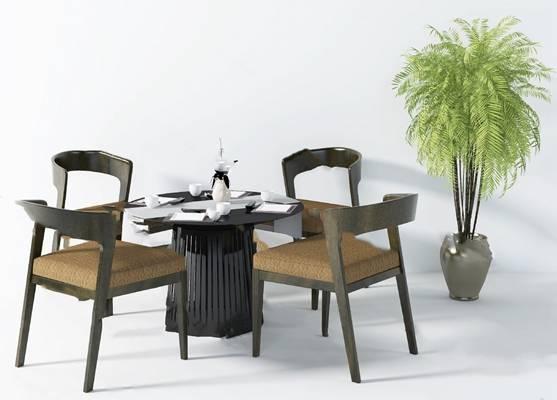现代餐桌椅组合3D模型下载【ID:319452489】
