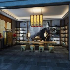 新中式四合院茶室3D模型【ID:327925749】