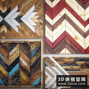 木质墙饰国外3D模型【ID:929314809】