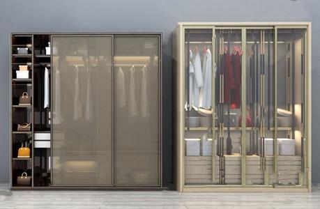 現代金屬透明薄紗推拉衣柜3D模型【ID:920809999】