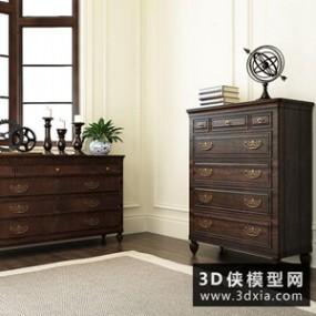 美式装饰柜组合国外3D模型【ID:829783073】