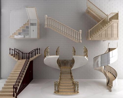 欧式风格楼梯3D模型【ID:728087906】