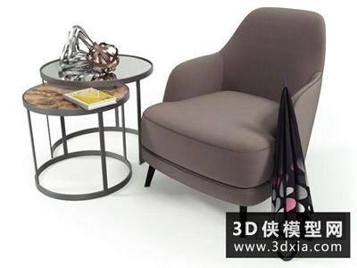 现代休闲椅组合国外3D模型【ID:729478899】
