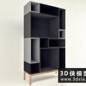 现代北欧书柜国外3D模型【ID:829722031】