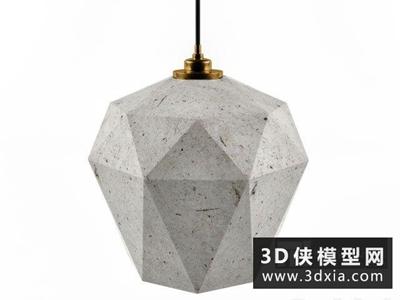 現代水泥吊燈國外3D模型【ID:829440757】