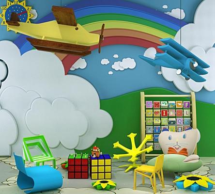 幼儿园飞机云朵彩虹椅子组合3D模型【ID:828127032】