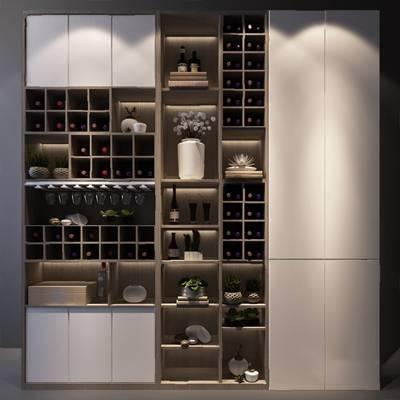 现代酒柜3D模型【ID:924888048】