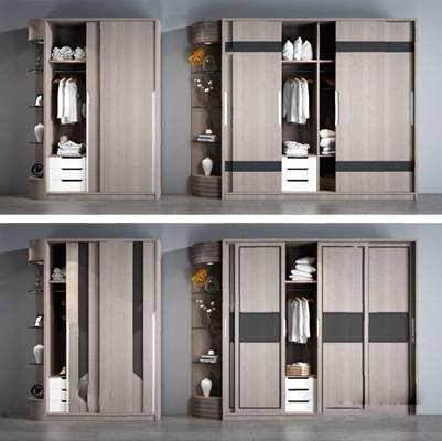 现代衣柜3D模型【ID:924891950】