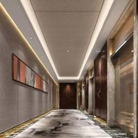 现代电梯厅3D模型【ID:920605330】