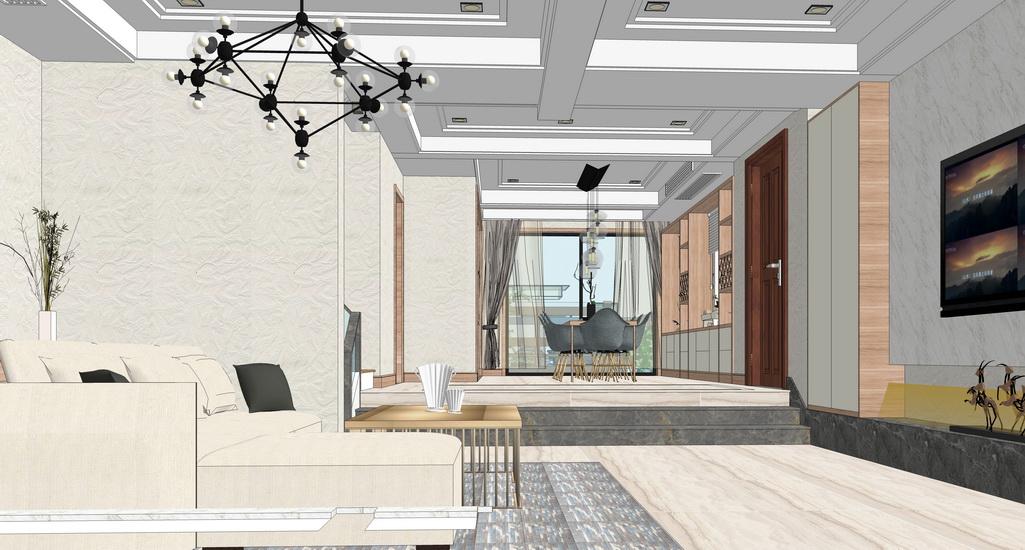 北歐風格復式家裝室內設計SU模型【ID:936969891】