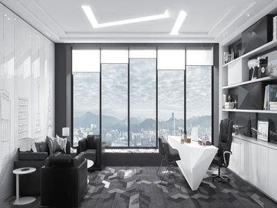 现代总经理办公室3D模型【ID:950470066】
